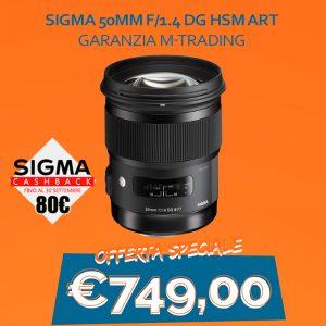 Sigma 50mm f/1.4 DG HSM Art – Garanzia M-Trading – CASHBACK 80€