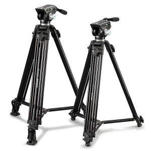 Cullmann Terra 480 fotocamera/Video treppiede con testa fluida a 2 Vie, 184,5 cm NERO