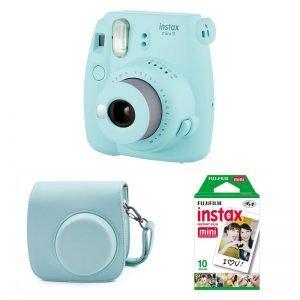 Fujifilm Instax Mini 9 Kit (Camera, Borsetta e Pellicola 10 Scatti) Azzurro Ghiaccio