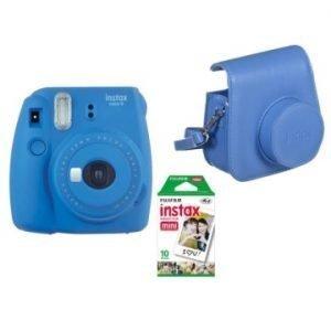 Fujifilm Instax Mini 9 Kit (Camera, Borsetta e Pellicola 10 Scatti) Blu Cobalto