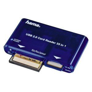 Hama Lettore USB 2.0 35in1 con cavo, SD, SDHC, SDXC, CF I e II, MS, MS Du o, MS Pro, MS Pro Duo, MMC, xD, SM, blu