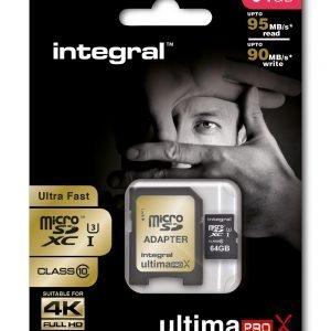 Integral Ultimapro x scheda di memoria micro SDHC da 64 GB ultra-high-speed Class 10, U3