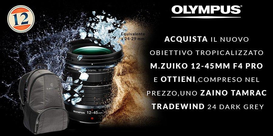 OLYMPUS 12-45mm 4.0 PRO con Zaino TAMRAC