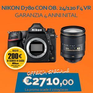 Nikon D780 con OB. 24/120 f4 VR – Garanzia 4 anni Nital – SCONTO IN CASSA 200 €